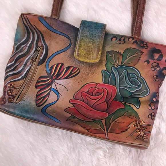 Anuschka Handbags - SOLD Anuschka Rose Painted Leather Handbag Purse